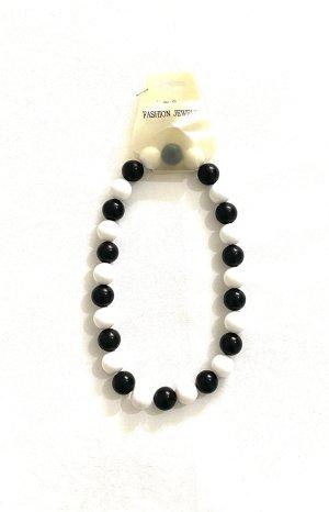 Vintage Collar de perlas blanco-negro