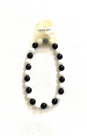 Vintage Collar de perlas negro-blanco