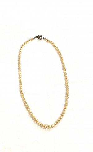 Vintage Collier de perles beige clair-blanc cassé