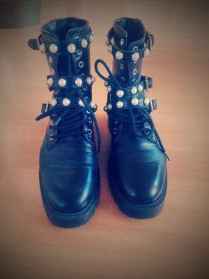 Perlen Leder Stiefel Schuhe