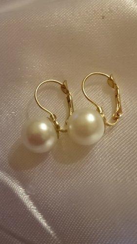 Orecchino di perle oro-crema