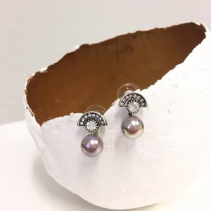 Pearl Earring silver-colored-grey lilac