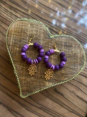 Orecchino di perle lilla-bronzo