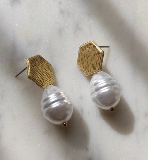 Perlen Ohrringe Metall goldfarben Hexagon Form