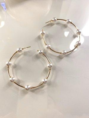 Perlen Ohrringe Ohrstecker goldene Kreolen Trend