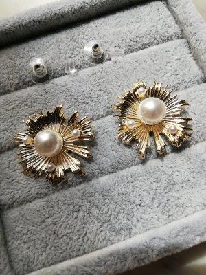 Orecchino di perle oro-bianco sporco Metallo