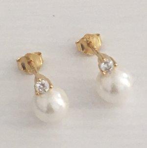 Perlen Ohrstecker Silber925 vergoldet