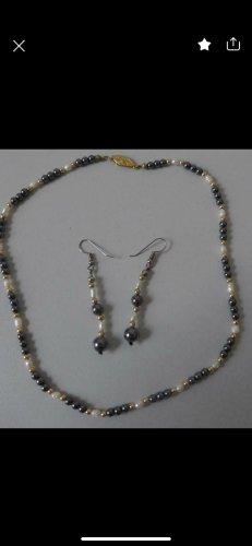 Perlen onyx Halskette und Ohrringe aus Nachlass