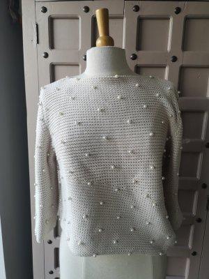 Pullover a maglia grossa bianco-beige chiaro
