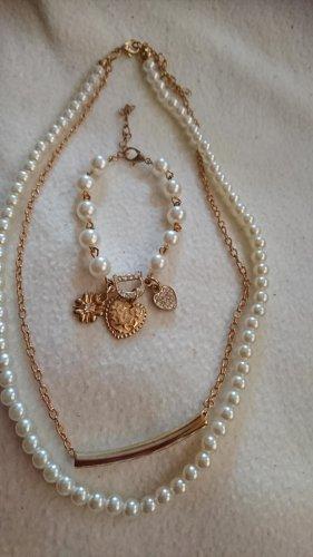 Perlen Schmuckset Halskette und Armband