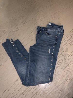 Perlen Skinny Röhren Jeans