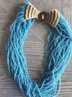 Naszyjnik z perłami jasnobrązowy-turkusowy