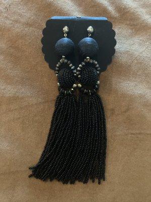 Zara Boucle d'oreille incrustée de pierres noir-doré