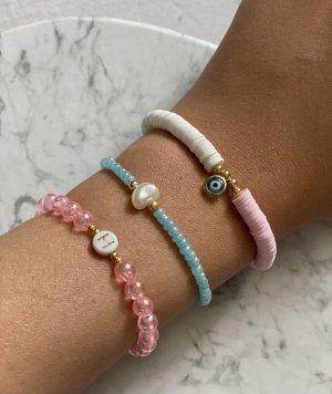 Bracelet en perles rose-bleu clair