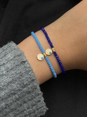 Bracelet en perles bleu fluo-bleu foncé