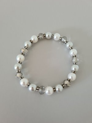 Brazalete de perlas color plata-blanco