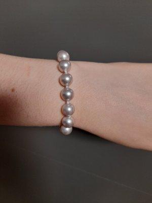 Bracelet en perles argenté-mauve