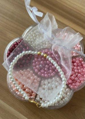 Handmade Brazalete de perlas color oro-blanco