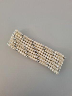 Vintage Armband met parels zilver-wolwit