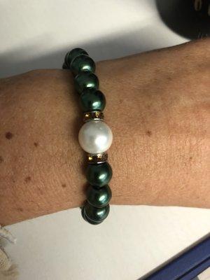 handmade Bransoletki z perłami ciemnozielony-leśna zieleń