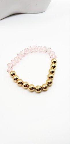Perlenarmband,  rosa gold, Stretch