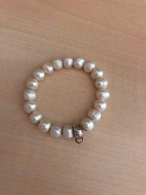 Thomas Sabo Brazalete de perlas crema-beige claro tejido mezclado