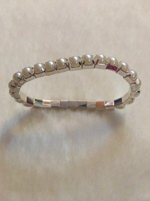 Bracelet en perles blanc-argenté