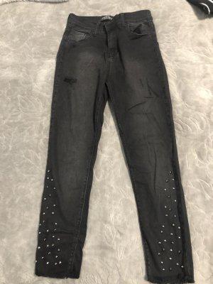 Pantalone a vita bassa grigio scuro-grigio
