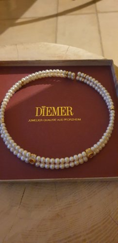 Perlenhalsreif Citrin,gold,mit Brillanten.Juwelier Diemer