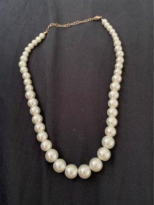 Six Collier de perles blanc
