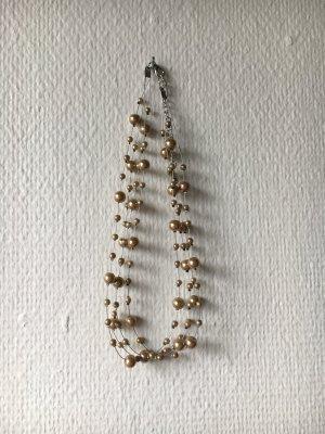 Collar de perlas ocre-color plata tejido mezclado