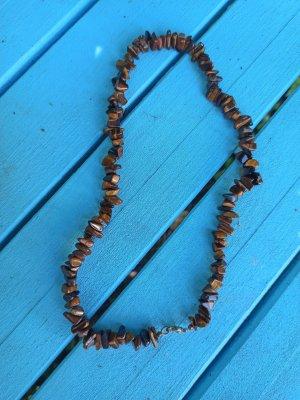 Naszyjnik z perłami brąz-brązowy
