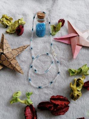 handmade unikat Collar de perlas blanco-azul