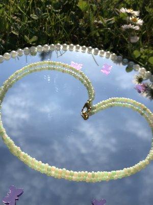 Handmade Collier de perles vert pâle-crème
