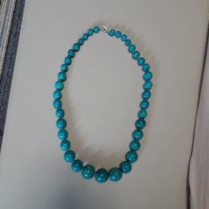 Naszyjnik z perłami srebrny-jasnoniebieski
