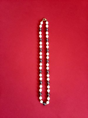 Vintage Collar de perlas gris antracita-blanco