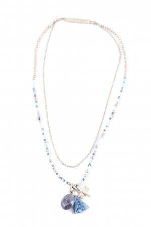 Pearl Necklace blue-silver-colored casual look