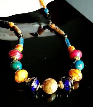 Handmade Collar de perlas rojo-azul