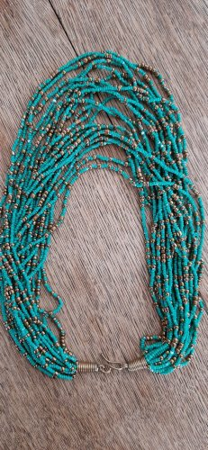Pearl Necklace bronze-colored-turquoise