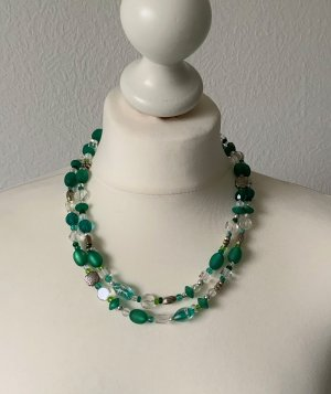 Perlenkette grün-silberfarben