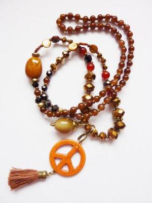 Perlenkette Hippieschmuck Statement Kette mit Peace Zeichen Quaste und Perlen