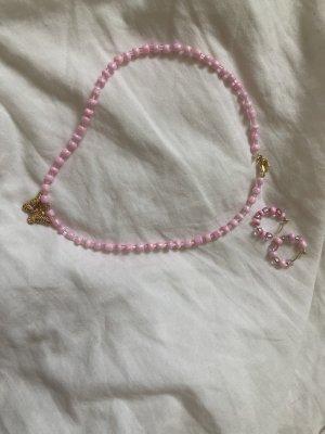 Perlenkette mit Schmetterling Anhänger und Ohrringe