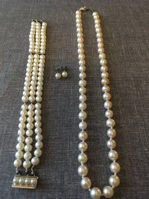 Perlenkette + Perlenarmband + Ohrringe Alt
