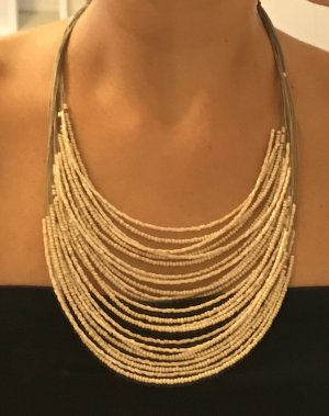 Collier de perles argenté-or rose