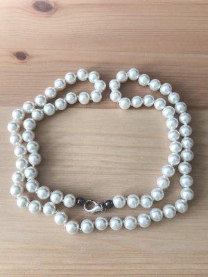 Perlenkette Schmuck weiß vintage Halskette - Versandkostenfrei