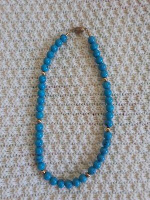 Collier de perles doré-turquoise