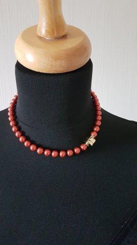 Pierre Lang Collier de perles rouge foncé