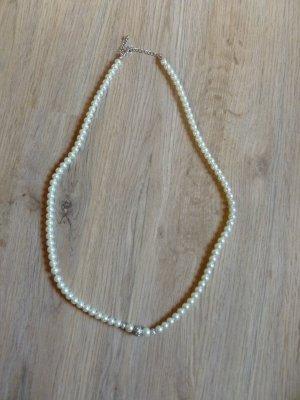 Perlenkette weiß creme silber Steinchen