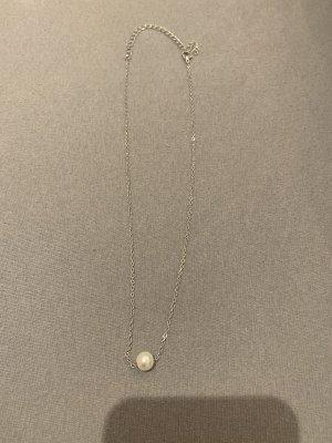 Perlenkette weiß Silber