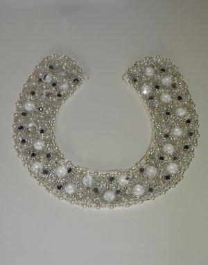 Perlenkragen Kragen mit Perlen Häkchenverschluss Weiss Silber H&M (NP: 30€)